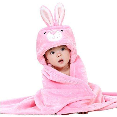 Yuelian(TM) 赤ちゃん 子供 フード付きバスタオル 優しい肌ざわり アニマル フェイス 動物 ベビーバスタオル 男の子 女の子 タオル 出産祝い 贈り物 (2 兔柄),出産祝い,タオル,