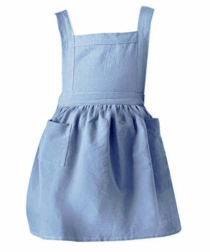 キッズエプロン 子ども フリル H型 前掛け 可愛い 女の子 エプロン 100~140cm (子供用ブルー),子供,料理,