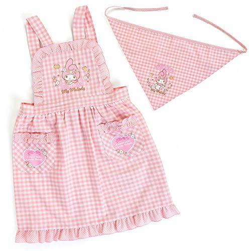マイメロディ 三角巾付きキッズエプロン(チェック)110cm,子供,料理,