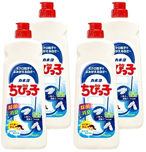 【まとめ買い】 カネヨ石鹸 上履き・スニーカー用洗剤 ちびっ子 液体 450g×4個,上履き,洗い方,