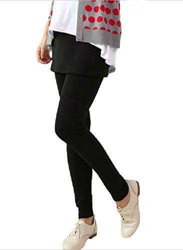 ミコプエラ(Micopuella)【選べる 3色】 マタニティ スカート 付き レギンス パンツ 春~秋 妊婦 さんに (ウエスト 調整機能) フットカバー セット スカッツ スパッツ ( ブラック L),マタニティボトムス,