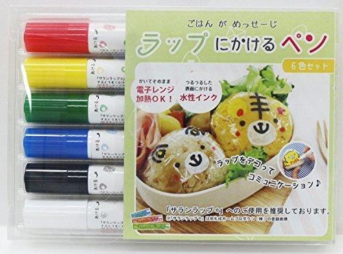 ラップに書けるペン 【 赤・木・緑・青・黒・白 6本入り 】,離乳食,ストック,