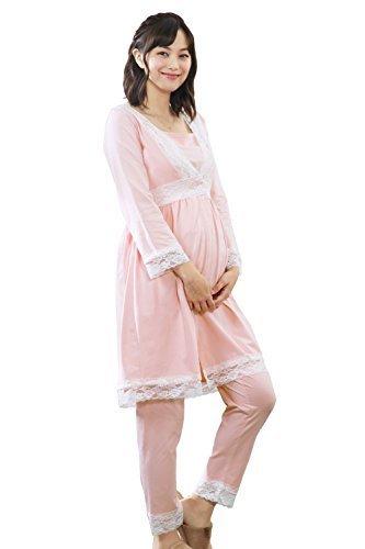 Sweet Mommy マタニティパジャマ 上下セット 前開き レース 授乳レイヤー付き M ピンク,マタニティパジャマ,パジャマ,