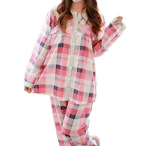 (マーシェル) Marshel かわいい マタニティ 授乳 パジャマ 兼 リラックス ルームウェア 服を着たまま簡単授乳 ピンク チェック M,マタニティパジャマ,パジャマ,