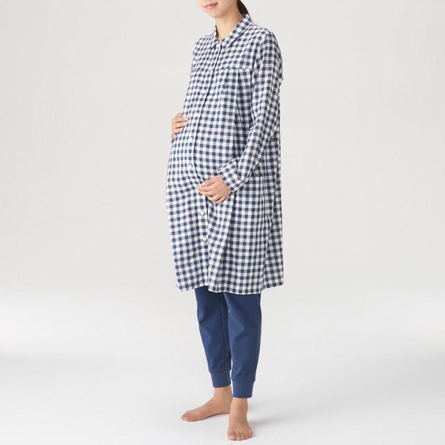 脇に縫い目のない二重ガーゼ授乳に便利な長袖パジャマ(ロング)|無印良品,マタニティパジャマ,パジャマ,