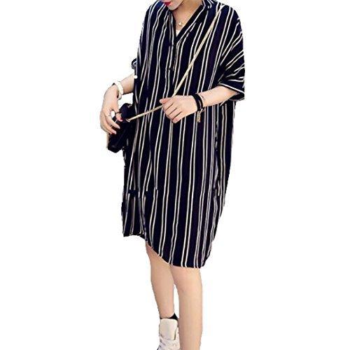 Spinas(スピナス) レディース マタニティ ストライプ 半袖 シャツ ワンピース One Color 【ブラック】 縦じま効果で着やせ効果ありの優秀ワンピ♪ (XXL),マタニティ,大きいサイズ,
