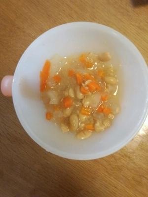 離乳食☆後期☆ 3種の野菜の納豆入りスープ ,赤ちゃん,納豆,