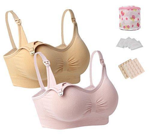 iLoveSIA (アイラブシア) マタニティ ブラジャー 前開き ノンワイヤー 授乳ブラ 2枚セット福袋 ピンク+ベージュ LL,マタニティブラ,