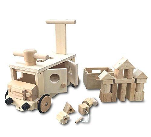 遊び方いろいろ 木製 つみきバス 乗用 玩具 カタカタ 押し車 パズル,おもちゃ,乗り物,