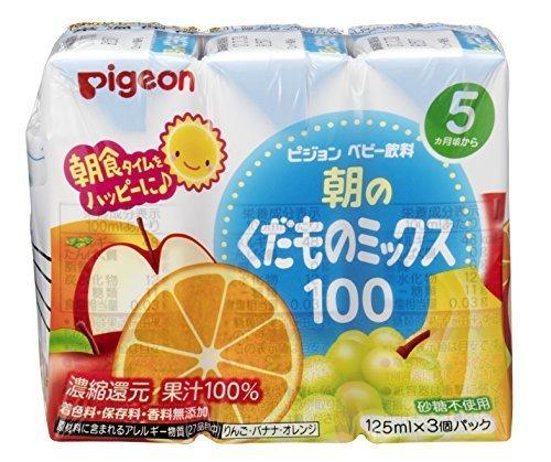 ピジョン ベビー飲料朝のくだものミックス100 125mL3本パック×4個,赤ちゃん,飲み物,