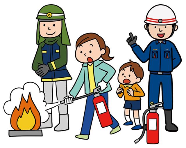 消火器で火を消す女性のイラスト,火災,防災,住宅