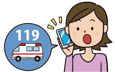 女性がスマートフォンで119番通報しているイラスト,119番,スマートフォン,携帯電話