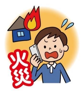 家が火事だという119番通報をしている男性のイラスト,119番,スマートフォン,携帯電話