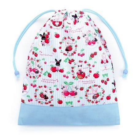 お着替えラクラク巾着(大サイズ)・体操服袋 うさちゃんのスウィートベリーガーデン × オックス・水色 N3379500 入園グッズ 入学グッズ きんちゃく袋 小学校入学準備,体操着袋,作り方,