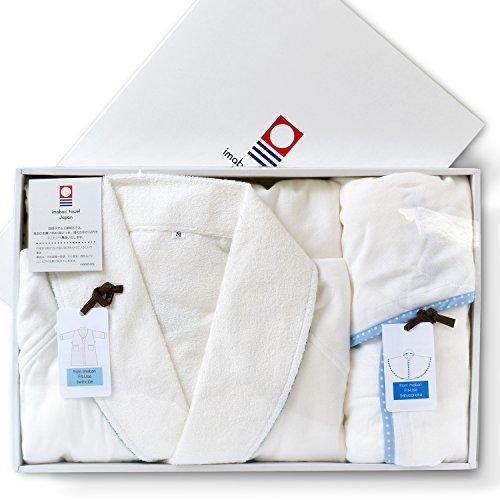 ブルーム 今治タオル 認定 【G】 Fit-Use ベビーポンチョ (ホワイト) + Fit-Use バスローブ (花柄ホワイト) Mサイズ 箱入り 出産祝い ギフトセット,赤ちゃん,お風呂グッズ,