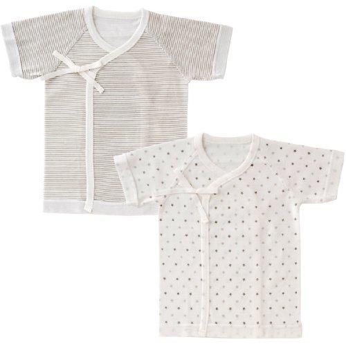(チャックル) chuckle 星&ボーダー新生児短肌着2枚組 グレー 50-60cm P6732-00-00,肌着,赤ちゃん,