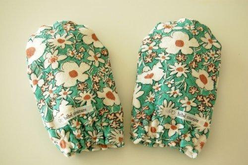 bebe couture(ベベクチュールベビー用品専門店)日本製ベビーミトンブルーフラワーコットン100%,赤ちゃん,ミトン,