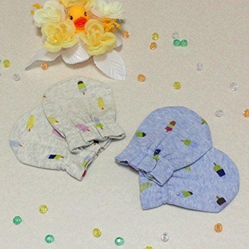 プチシュクレ(petitsucre) 新生児ミトン (アイスキャンディ柄) ブルー,赤ちゃん,ミトン,