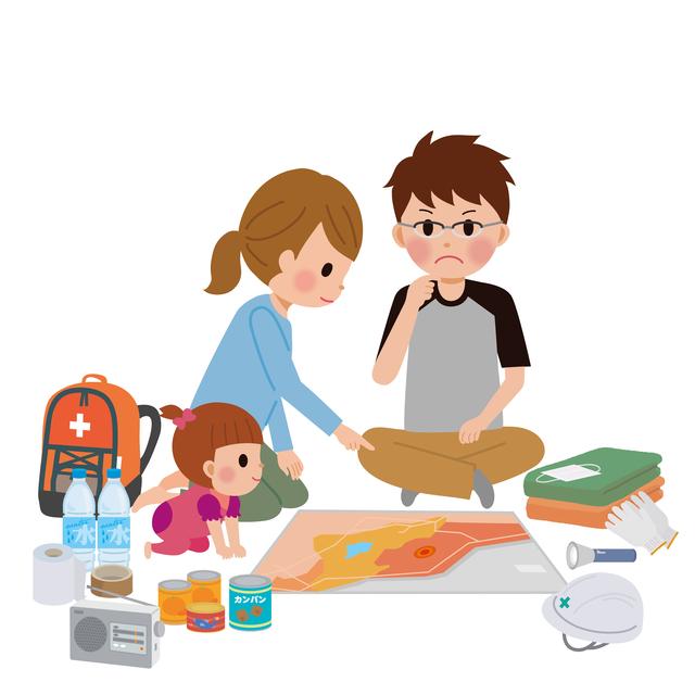 防災について考える赤ちゃんづれ家族のイラスト,防災グッズ,赤ちゃん,