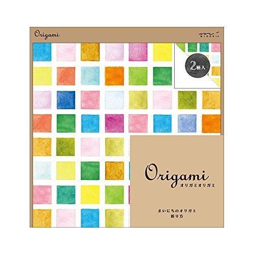 ミドリ オリガミ<15角> 水彩 タイル柄 34434006,折り紙,リボン,