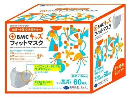 (PM2.5対応)BMC フィットマスク 使い捨てサージカルマスク キッズサイズ (幼児~低学年向け) 60枚入,子ども ,マスク,