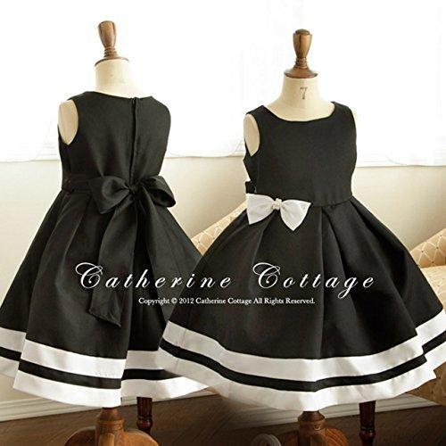 (キャサリンコテージ) Catherine Cottage子供服 フォーマル 結婚式 発表会 モノトーンパールリボンワンピース 140cm ブラック(黒),子ども,発表会,ドレス