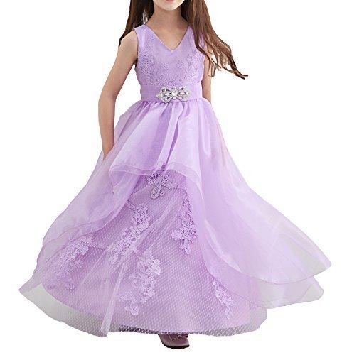 子供 ドレス ビジュー オーガンジー ロング ドレス 刺繍 花飾り 結婚式 発表会ドレス (110),子ども,発表会,ドレス