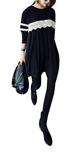 (マーシェル) Marshel マタニティ ワンピース チュニック 黒 産前 産後 妊婦服 ブラック L,授乳服,