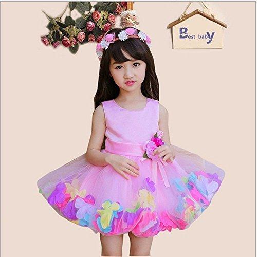Forpend 子供ドレス FP-0033 パーティー ピアノ 女の子 フォーマルドレス 結婚式 入園式 発表会 演奏会 ワンピース キッズドレス120cm Pink,子供服,ドレス,