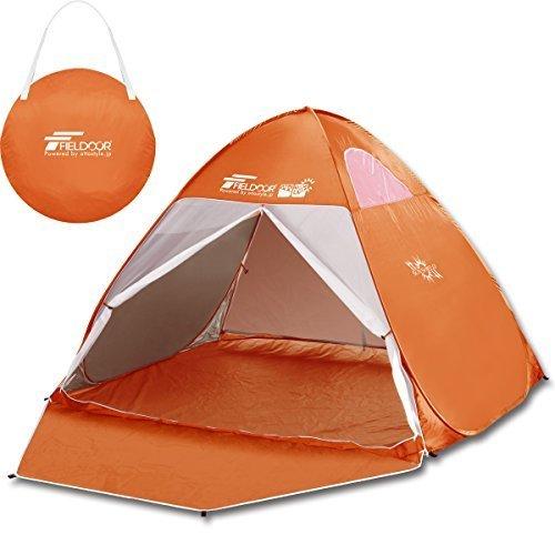 FIELDOOR フルクローズサンシェードテント【オレンジ】 幅200cm×奥行180cm×高さ135cm 4面メッシュ UVカットコーティング採用 ワンタッチで簡単!直射日光から守る,プール,持ち物,