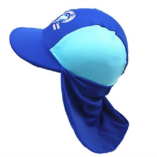 (リッチェ) Ricce 子供用 UVカット 水泳帽 スイムキャップ 日よけ帽子 UVキャップ ツバ付 男女兼用 帽子 キッズ スイミング プール 海 海水浴 水遊び (ブルー Blue, M),プール,持ち物,