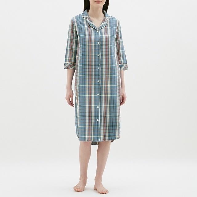パジャマワンピース(7分袖)(チェック),前開きパジャマ,マタニティ,