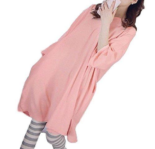 (Miwoluna) マタニティ 授乳服 パジャマ 家着 ゆったりサイズ で楽々 半袖 ピンク ボーダーパンツ XL,マタニティ,大きいサイズ,