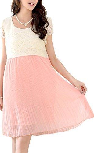 (K-JOY) マタニティ ワンピース ウェア 授乳口 授乳服 フォーマル ドレス 半袖 マタニティー (天使の羽付) (L, PINK),マタニティ,大きいサイズ,