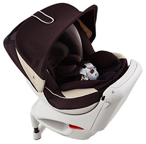 カーメイト エールベベ クルットNTプレミアムW 新生児から4歳用チャイルドシート(サンシェード付360度回転型) ブラウンオレ,チャイルドシート,新生児,