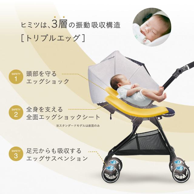 ベビーカーの断面図と赤ちゃん,