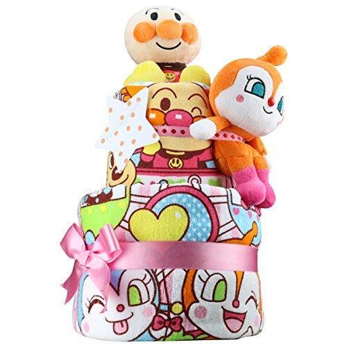出産祝い アンパンマン ぬいぐるみ2体とタオル2枚の超豪華 おむつケーキ パンパースS おもちゃ 女の子向け ドキンちゃん,双子,出産祝い,