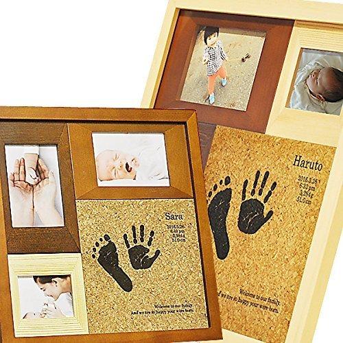 出産祝い 名入れ 手形 赤ちゃん WOODY メモリアル フォトフレーム 写真立て 足形 プレゼント ギフト 記念日,双子,出産祝い,