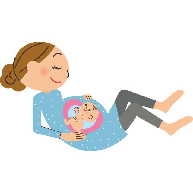ママと赤ちゃんのイラスト,妊娠初期,眠気,