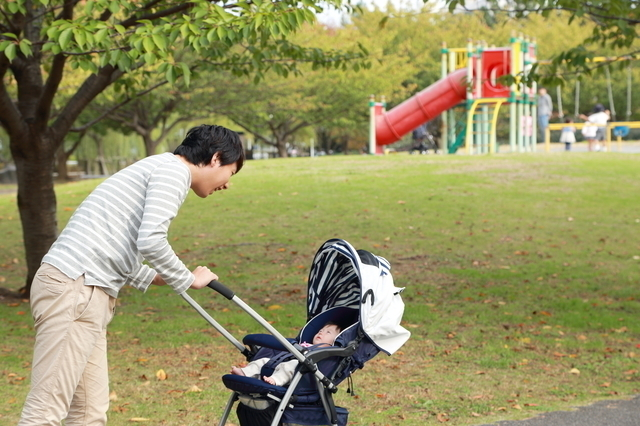 公園でお散歩をする父と赤ちゃん,おでかけ,月齢別,赤ちゃん