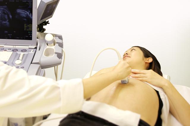 エコー検査を受ける妊婦,妊娠,24週,胎児