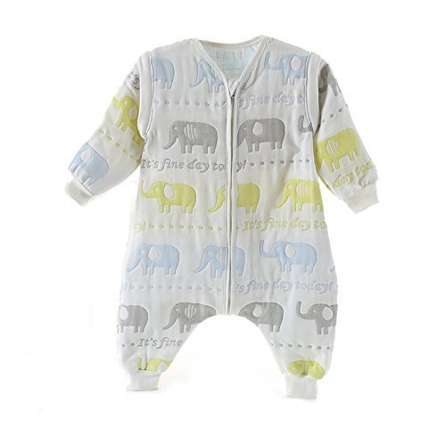 872ce459a87d3 TMVOK スリーパー長袖 キッズ 赤ちゃん 春や秋に最適 6重 ガーゼ 袖外せる 2way