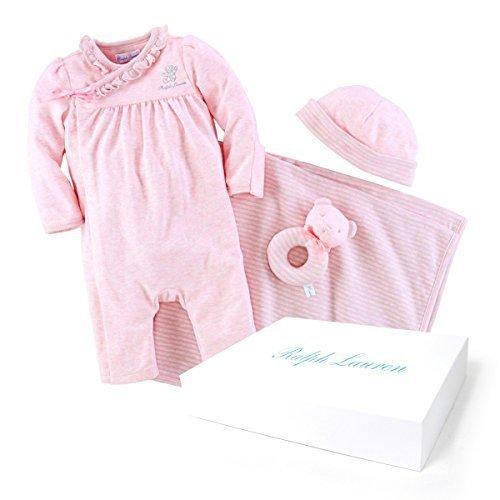 ポロ ラルフローレン POLO RALPH LAUREN 出産祝い 女の子 ギフトセット ボックス カバーオール 9M,ピンク 帽子 ブランケット おもちゃ [並行輸入品],出産祝い,ラルフ,