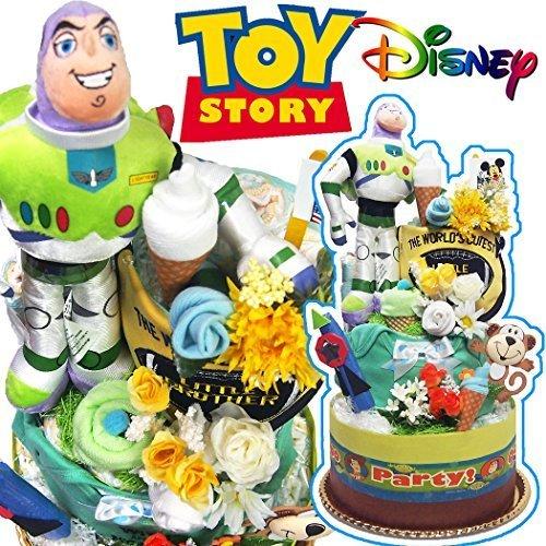 おむつケーキ ディズニー トイストーリー バズ toys tory 貰ってビックリ3段 出産プレゼント オムツケーキ Mサイズ,出産祝い,男の子,