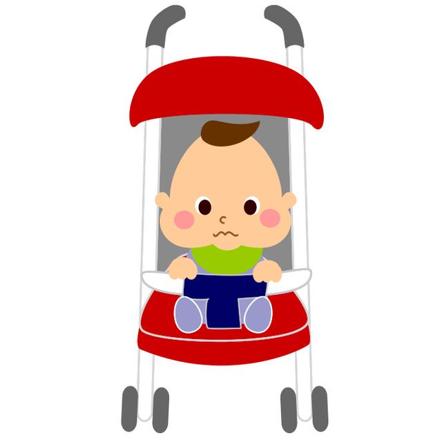 ベビーカーにのる子のイラスト,B型ベビーカー ,