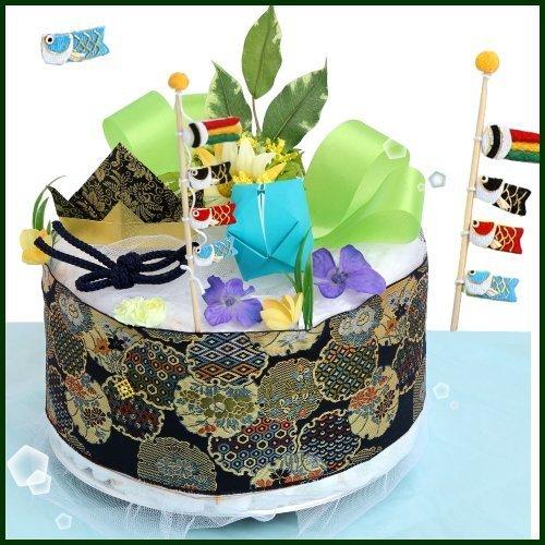 [端午の節句一段オムツケーキ]出産祝い,初節句に。和紙折り兜とちりめん細工の鯉のぼりを飾った和調おむつケーキ S,初節句,男の子,