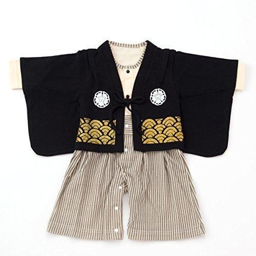 袴カバーオール ロンパース ベビー キッズ 紋付 80サイズ,初節句,男の子,