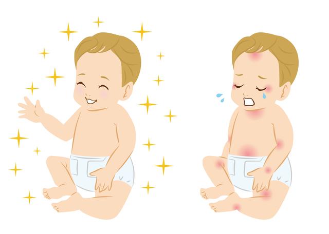 アレルギーに泣いている赤ちゃん,離乳食,シチュー,