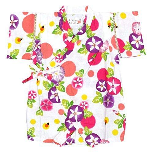アスナロ(甚平) 甚平 ベビー 女の子 日本製生地 朝顔 綿100% ロンパース スナップ付70 ホワイト,ベビー,ロンパース,