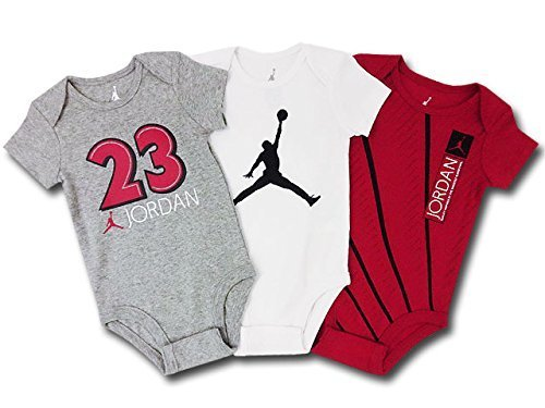 (Jordan)ジョーダン ベビーロンパース 3点セット (3-6M (3-6ヶ月頃 65cm-70cm), 灰白赤) [並行輸入品],ベビー,ロンパース,